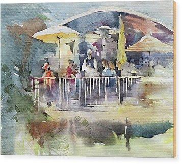 C'est La Vie Restaurant - Laguna Beach - California Wood Print by Natalia Eremeyeva Duarte