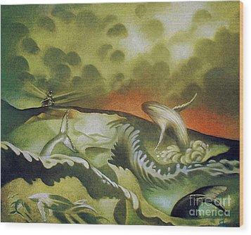Cetacean Sunset Wood Print
