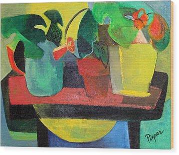 Cezanne Potting Stand Wood Print by Betty Pieper