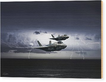 Wood Print featuring the digital art Chain Lightning by Peter Chilelli