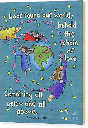 Chain Of Love Wood Print by Sarah Batalka