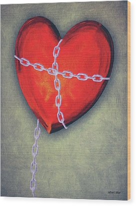 Chained Heart Wood Print by Jeffrey Kolker