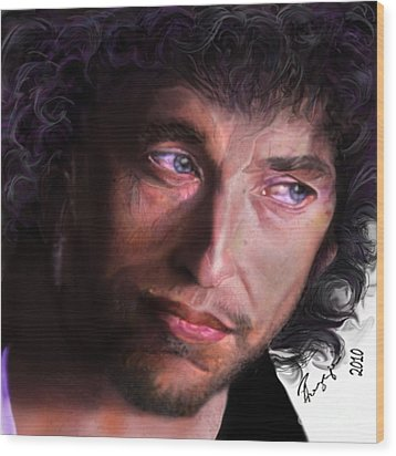 Chained To The Sky -  Bob Dylan  Wood Print by Reggie Duffie