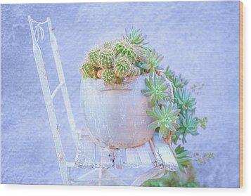 Chair And Cacti Wood Print