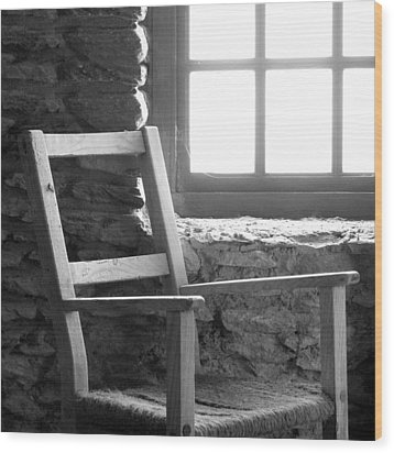 Chair By Window - Ireland Wood Print by Mike McGlothlen
