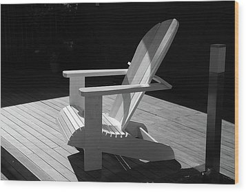 Chair In Black And White Wood Print by Nareeta Martin