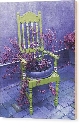 Chair In Chartreuse		 Wood Print by Ann Johndro-Collins