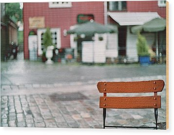 Chair In Trondheim Wood Print by Gregory Barger