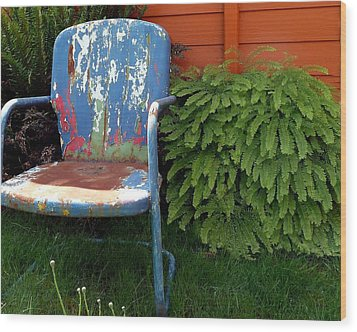 Chair Of Many Colors Wood Print by Patricia Strand