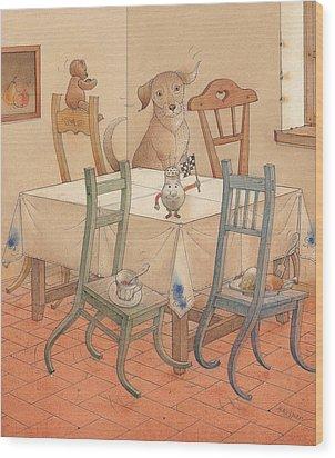 Chair Race Wood Print by Kestutis Kasparavicius