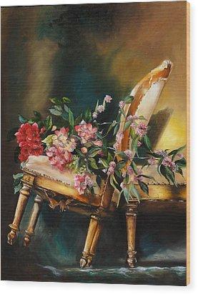 Chair Tilt Wood Print by Denise H Cooperman