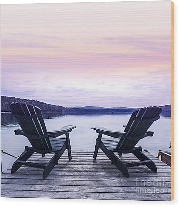 Chairs On Lake Dock Wood Print
