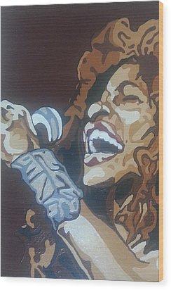 Wood Print featuring the painting Chaka Khan by Rachel Natalie Rawlins