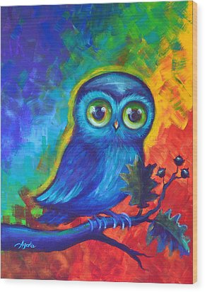 Wood Print featuring the painting Chakra Abstract With Owl by Agata Lindquist