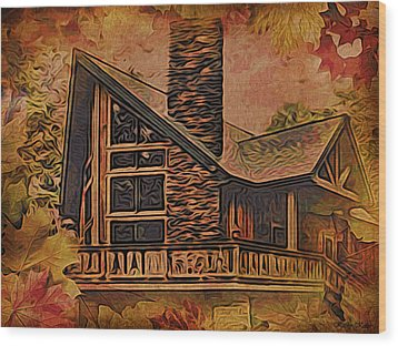 Wood Print featuring the digital art Chalet In Autumn by Kathy Kelly