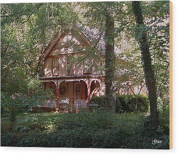 Chalet In The Trees Wood Print by Julie Grace