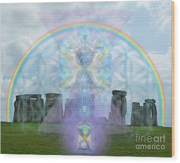 Chalice Over Stonehenge In Flower Of Life And Man Wood Print by Christopher Pringer