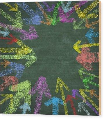 Chalk Drawing Colorful Arrows Wood Print by Setsiri Silapasuwanchai
