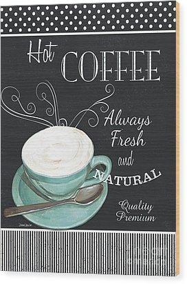 Wood Print featuring the painting Chalkboard Retro Coffee Shop 1 by Debbie DeWitt