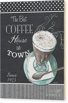 Wood Print featuring the painting Chalkboard Retro Coffee Shop 2 by Debbie DeWitt