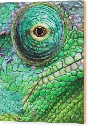 Chameleon Wood Print by Bill Fleming