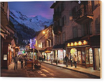 Chamonix Town In The Shadow Of Mont Blanc In The French Alps Wood Print by Pierre Leclerc Photography