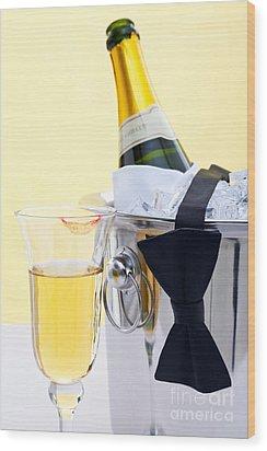 Champagne Black Tie And Lipstick Wood Print by Richard Thomas