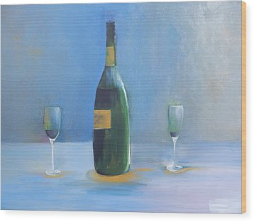 Wood Print featuring the painting Champagne For Two by Lisa Kaiser