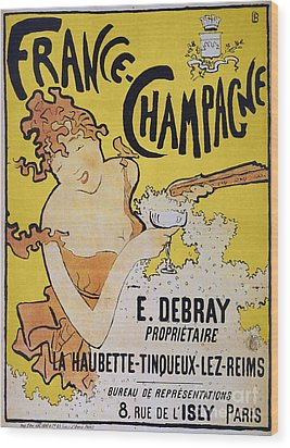 Champagne Poster, 1891 Wood Print by Granger