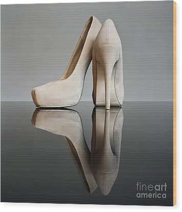Wood Print featuring the photograph Champagne Stiletto Shoes by Terri Waters
