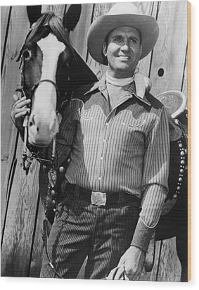 Champion And Gene Autry Wood Print by Everett