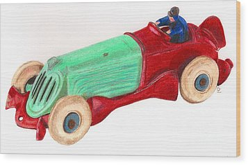 Champion Racer Wood Print by Glenda Zuckerman