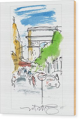 Champs Elysee Paris Wood Print