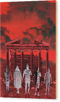 Chance Encounter In The City Of The Dead Wood Print by Mark Myers