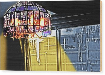 Chandelier - Warm Glow Wood Print by Steve Ohlsen