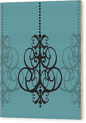 Wood Print featuring the photograph Chandelier Delight 1- Blue Background by KayeCee Spain