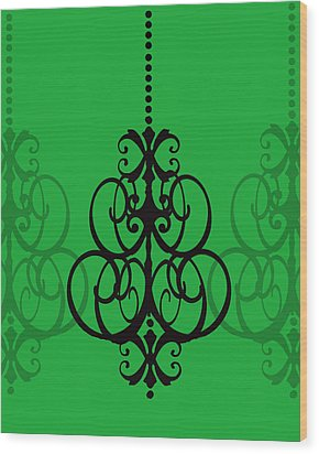 Wood Print featuring the photograph Chandelier Delight 1- Green Background by KayeCee Spain