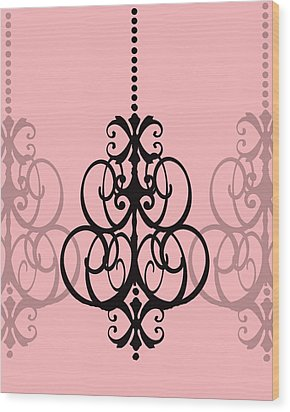 Wood Print featuring the photograph Chandelier Delight 1- Pink Background by KayeCee Spain