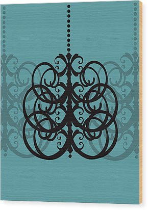 Wood Print featuring the photograph Chandelier Delight 2- Blue Background by KayeCee Spain