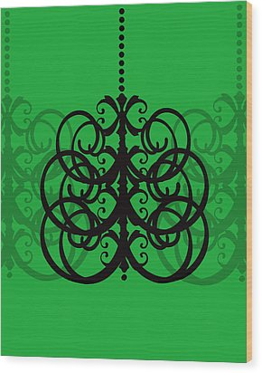 Wood Print featuring the photograph Chandelier Delight 2- Green Background by KayeCee Spain