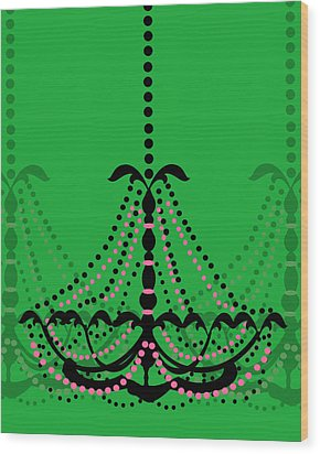 Wood Print featuring the photograph Chandelier Delight 3- Green Background by KayeCee Spain