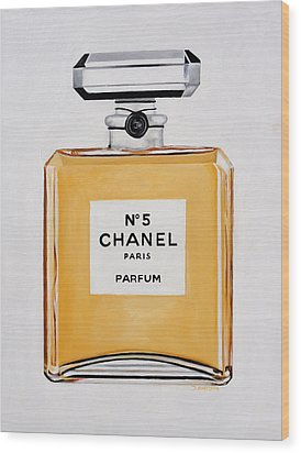 Chanel Me Wood Print by Denise H Cooperman