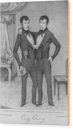 Chang And Eng, 1811-1874, Conjoined Wood Print by Everett