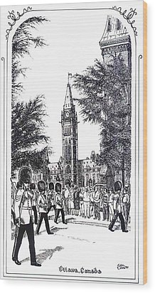 Changing Of The Guard Ottawa 1995 Wood Print by John Cullen