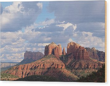 Wood Print featuring the photograph Changling Light - Cathedral Rock by Patricia Davidson