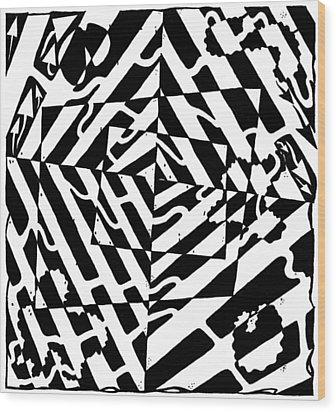 Chaos Maze Optical Illusion Wood Print by Yonatan Frimer Maze Artist