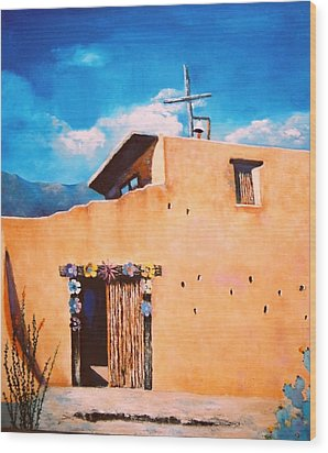 Wood Print featuring the painting Chapel In The Sun by M Diane Bonaparte