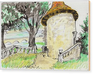 Chapel On Estate River Wood Print by Tilly Strauss