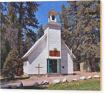 Chapel On The Mountain Wood Print by Glenn McCarthy Art and Photography