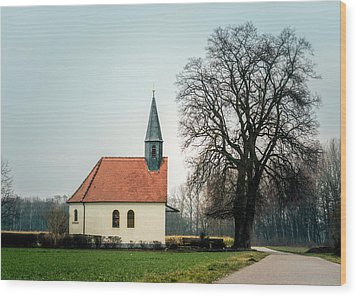 Chapel Under The Tree Wood Print by Daniel Precht